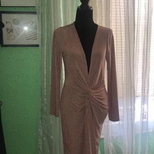 Rubbed Plunge Twist Midi Dress